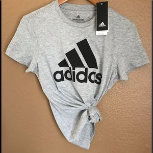 Adidas grey t shirt with black logo, size S/P